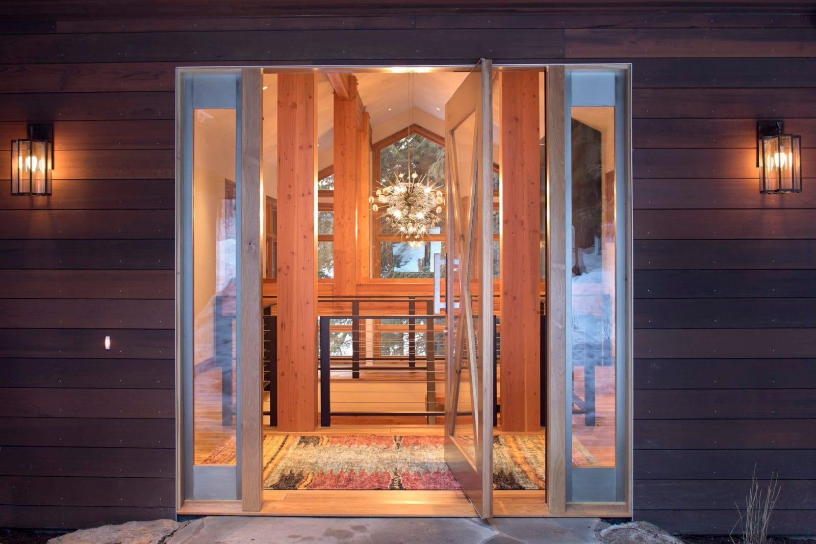 Indigo lake House Pivot door designed by Michael Donohue NCARB